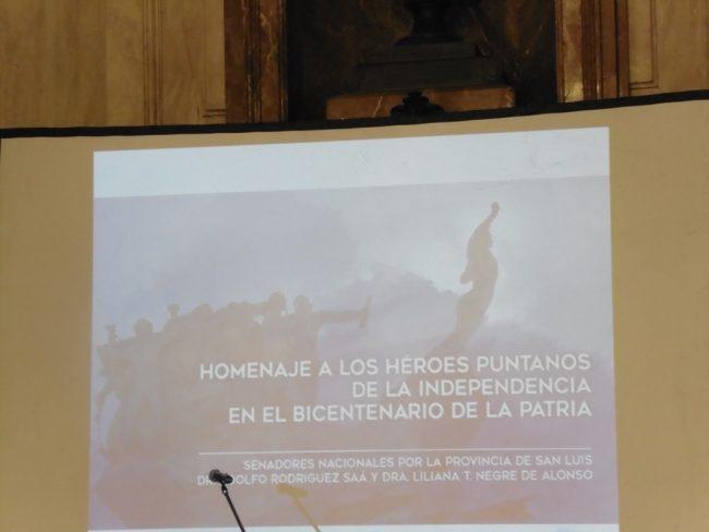 Los héroes puntanos de la Independencia fueron homenajeados en el Senado de la Nación